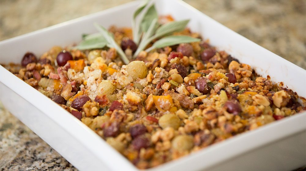 Cornbread Dressing with Roasted Grapes, Walnuts and Pancetta