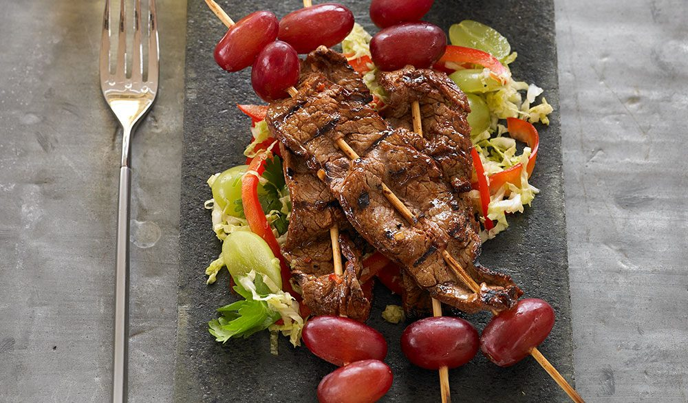 Korean Barbeque-Spiced Flank Steak and Grape Skewers