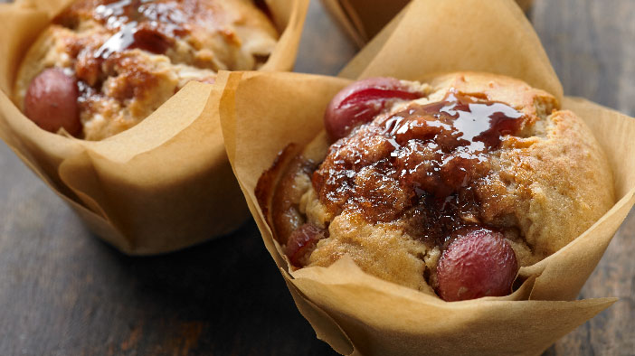 Peanut Butter and Grape Muffins