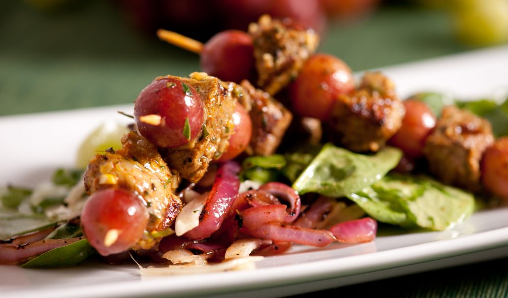 Grilled Spiced Pork and Grape Kebabs