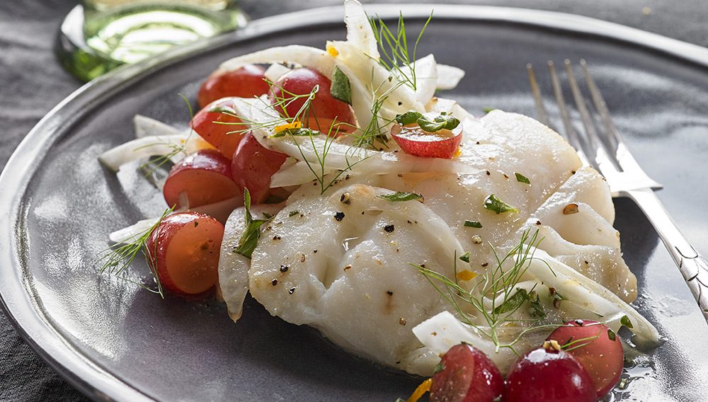 Roasted Cod with Fennel and Grapes