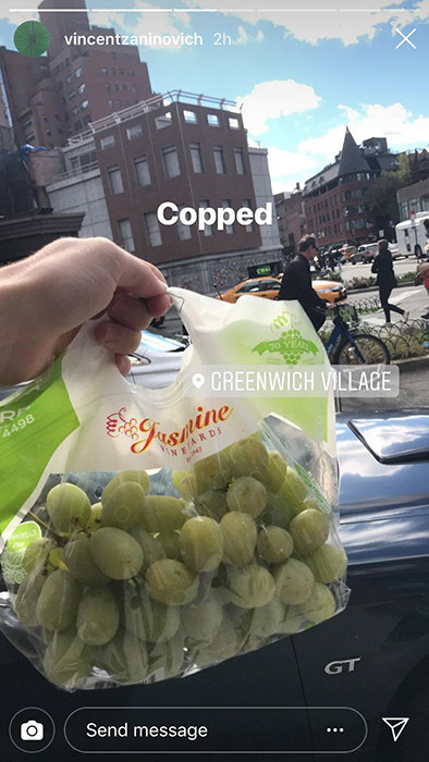 Jasmine Vineyards grapes.. spotted in Greenwich Village